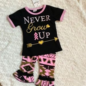 NWOT Never Give Up Outfit Size 1-2years
